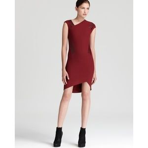 HELMUT LANG Women's Red Wool/Leather Dress Size 2